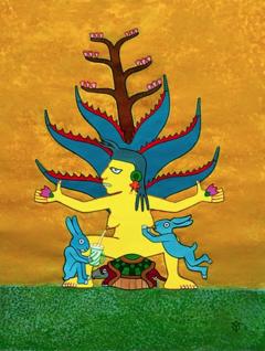 Mayahuel y el néctar de los dioses, obra pictórica de Yohanan Meshoulam que se exhibe en el Centro cultural y pulquería La Guayaba en Cuernavaca.